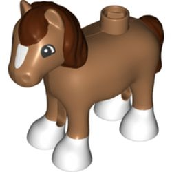 LEGO part 36969pr0005 Duplo Animal Horse/Foal with White Hooves and Blaze, Reddish Brown Mane & Tail Print in Medium Nougat