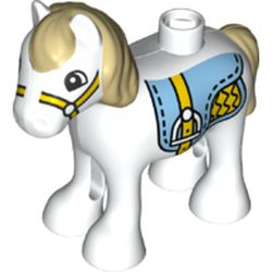 LEGO part 36969pr0004 Duplo Animal Horse/Foal with Bright Light Blue Saddle, Tan Mane & Tail Print in White
