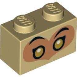 LEGO part 73425 Brick 1 x 2 with Medium Dark Flesh Heart, Black Eyes, Gold Pupils (Monkie King) in Brick Yellow/ Tan