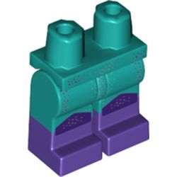 LEGO part  Legs and Hips with Dark Purple Boots Pattern and Dark Purple/Silver Dots print in Bright Bluish Green/ Dark Turquoise