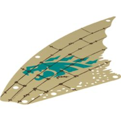 LEGO part 73481pr0001 Sail, Scalloped with Dark Turquoise Dragon Head and Dark Brown Lines Print in Brick Yellow/ Tan