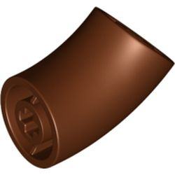LEGO part  Brick Round 1 x 1 diameter Tube with 45 Degree Elbow(2 x 2 x 1) and Axle Holes(Crossholes) at each end in Reddish Brown
