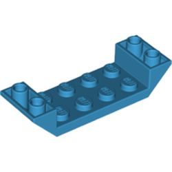 LEGO part 22889 Slope Inverted 45° 6 x 2 Double with 2 x 4 Cutout in Dark Azure