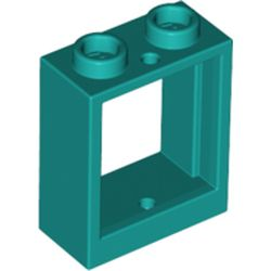 LEGO part 60592 Window 1 x 2 x 2 Flat Front in Bright Bluish Green/ Dark Turquoise