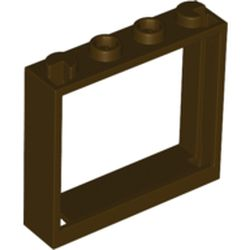 LEGO part 60594 Window 1 x 4 x 3 without Shutter Tabs in Dark Brown