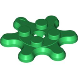 LEGO part 35442 Plate Special 2 x 2 Gear with 6 Teeth in Dark Green/ Green