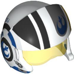 LEGO part 21566pr0005 Minifig Helmet Rebel Pilot Raised Front with Trans-Yellow Visor and Blue/Black Stripes and Rebel Logo Print in White