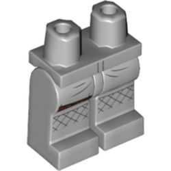 LEGO part 970c00pr2000 Legs and Hips with Brown Strap and Dark Bluish Gray Stitching Lines Print in Medium Stone Grey/ Light Bluish Gray