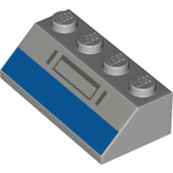 LEGO part 3037pr0021 Slope 45° 2 x 4 with Blue Rectangle, Dark Bluish Grey Shapes print in Medium Stone Grey/ Light Bluish Gray