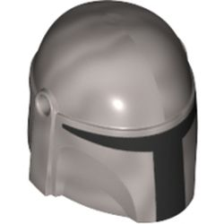 LEGO part 73592 Minifig Helmet Mandalorian with Holes with Black Visor Print in Silver Metallic/ Flat Silver