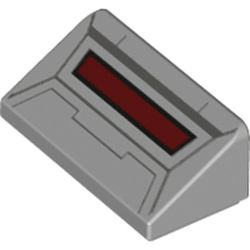 LEGO part 85984pr0023 Slope 30° 1 x 2 x 2/3 with Dark Red Screen Print [AT-AT Head] in Medium Stone Grey/ Light Bluish Gray