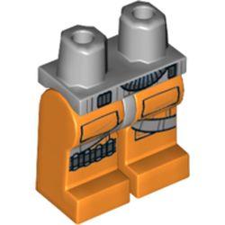 LEGO part 73623 Legs and Light Bluish Gray Hips with Rebel Pilot Flight Suit Print in Bright Orange/ Orange
