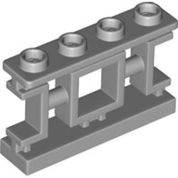 LEGO part  Fence 1 x 4 x 2 Ornamental Asian Lattice with 4 Studs in Medium Stone Grey/ Light Bluish Gray