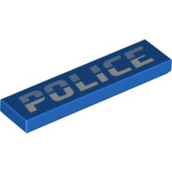LEGO part 73643 Tile 1 x 4 with Groove and 'POLICE' Print in Bright Blue/ Blue