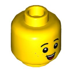LEGO part  Minifig Head Child, Big Open Mouth Smile Print in Bright Yellow/ Yellow