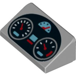 LEGO part 73784 Slope 30° 1 x 2 x 2/3 with Dashboard, Speedometers Print in Medium Stone Grey/ Light Bluish Gray