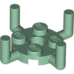 LEGO part 65738 Plate Round 2 x 2 with Pin Hole and 4 Arms Up in Sand Green