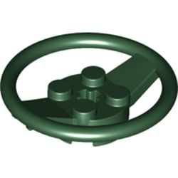 LEGO part  Steering Wheel with 4 Studs on Center in Earth Green/ Dark Green