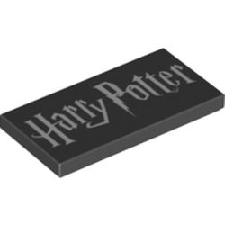 LEGO part  Tile 2 x 4 with White 'Harry Potter' print in Black