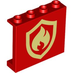 LEGO part 73902 Panel 1 x 4 x 3 [Side Supports / Hollow Studs] with Fire Logo Print in Bright Red/ Red
