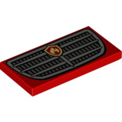 LEGO part 73905 Tile 2 x 4 with Groove and Grille with Fire Logo Print in Bright Red/ Red