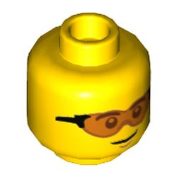 LEGO part 73906 Minifig Head, Trans-Orange Glasses Print in Bright Yellow/ Yellow