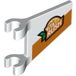 LEGO part 73912 Flag 2 x 2 Trapezoid with 'Vita Rush' Logo Print in White