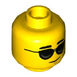 LEGO part 73963 Minifig Head, Black Glasses Print in Bright Yellow/ Yellow