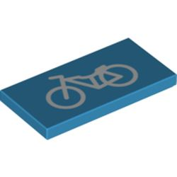 LEGO part  Tile 2 x 4 with Groove and Bicycle Print in Dark Azure
