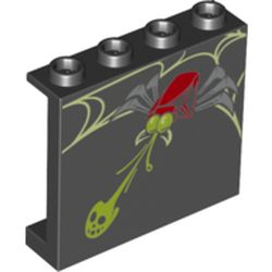 LEGO part 60581pr0030 Panel 1 x 4 x 3 [Side Supports / Hollow Studs] with Spider Shooting Lime Web Print in Black