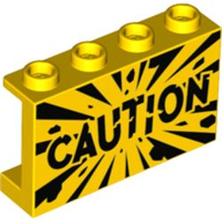 LEGO part 14718pr0008 Panel 1 x 4 x 2 - Hollow Studs with Side Supports with 'CAUTION' Print in Bright Yellow/ Yellow