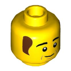 LEGO part 74156 Minifig Head Bob, Reddish Brown Hair, Smile Print in Bright Yellow/ Yellow