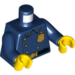 LEGO part 76382 Torso Jacket with Gold Police Badge and Buttons, Belt with Gold Buckle Print, Dark Blue Arms, Yellow Hands in Earth Blue/ Dark Blue