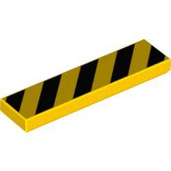 LEGO part 2431pr0158 Tile 1 x 4 with Black Diagonal Stripes Print in Bright Yellow/ Yellow