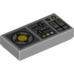 LEGO part 73873 Tile 1 x 2 with Controls, Slides, Joystick print in Medium Stone Grey/ Light Bluish Gray