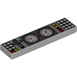 LEGO part 73875 Tile 1 x 4 with Groove and Buttons, Lever, and Gauges Print in Medium Stone Grey/ Light Bluish Gray