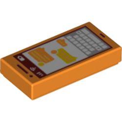 LEGO part  Tile 1 x 2 with Smartphone print in Bright Orange/ Orange