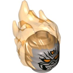LEGO part 74446 Minifig Head Special with Trans-Orange Flames and Orange Eyes with Grin Print (Ghost Rider) in Silver Metallic/ Flat Silver