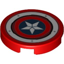 LEGO part 74351 Tile Round 2 x 2 with Bottom Stud Holder with Captain America Star Shield with Rivets Print in Bright Red/ Red