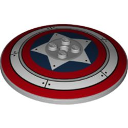 LEGO part 74354 Dish 6 x 6 Inverted (Radar) with Solid Studs and Captain America Shield Print in Medium Stone Grey/ Light Bluish Gray