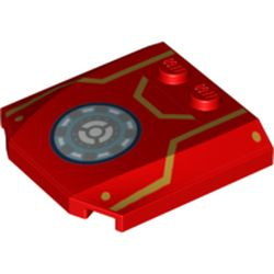 LEGO part 45677pr9998 Slope Curved 4 x 4 x 2/3 Triple Curved with 2 Studs and Iron Man Armor, Gold Lines, and Round Arc Reactor Print in Bright Red/ Red
