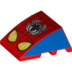 LEGO part 74383 Wedge Curved 4 x 3 No Studs with Spider-Man Logo and Headlights Print in Bright Red/ Red