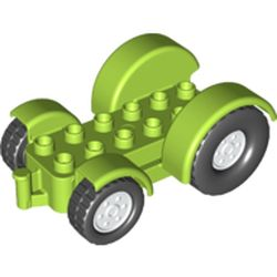 LEGO part 15320c03 Duplo Car Base 2 x 6 Tractor with Mudguards, White Wheels in Bright Yellowish Green/ Lime