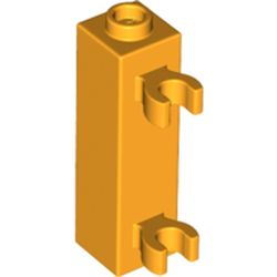 LEGO part 42944 Brick Special 1 x 1 x 3 with 2 Clips Vertical [Hollow Stud, Open O Clips] in Flame Yellowish Orange/ Bright Light Orange