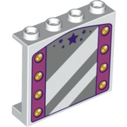 LEGO part 74612 Panel 1 x 4 x 3 with Mirror, Dark Pink Sides with Lamps, Dark Purple Stars print in White