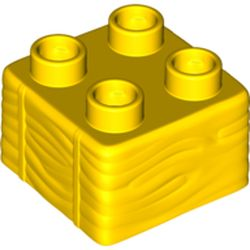 LEGO part 69716 Duplo Brick 2 x 2, Hay Bale Pattern in Bright Yellow/ Yellow