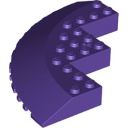 LEGO part 58846 Brick Round Corner 10 x 10 with Slope 33° Edge, Axle Hole, Facet Cutout in Medium Lilac/ Dark Purple