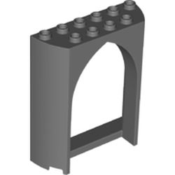 LEGO part 35565 Panel 2 x 6 x 6 with Gothic Arch in Dark Stone Grey / Dark Bluish Gray