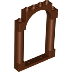 LEGO part 40066 Panel 1 x 6 x 7 with 2 Columns and Arch in Reddish Brown