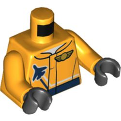 LEGO part 76382 Torso Jacket with Dark Blue Plane and Pilot Wing Badge Print, Bright Light Orange Arms, Black Hands in Flame Yellowish Orange/ Bright Light Orange